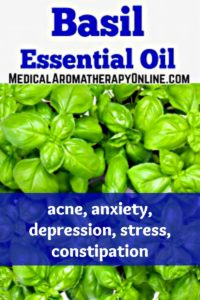 Basil essential oil is used in aromatherapy to treat acne, anxiety, depression, stress and constipation.