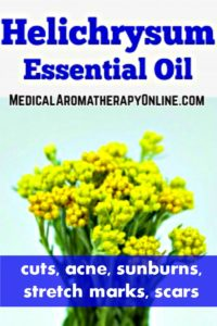 Helichrysum essential oil is used in aromatherapy to treat cuts, acne, sunburns, stretch marks and scars.